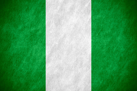 flag of Nigeria or Nigerian banner on canvas texture