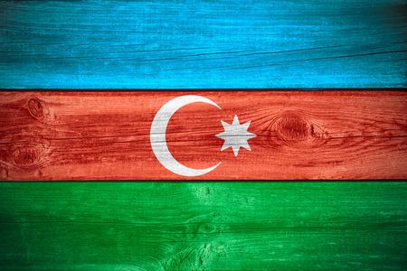 azerbaijani: flag of Azerbaijan or Azerbaijani banner on wooden background Stock Photo