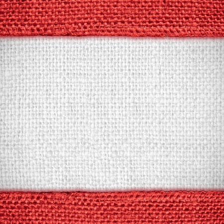 margins: white linen texture with red margins or woven canvas background Stock Photo