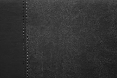 margen: textura de cuero negro con costura en el margen