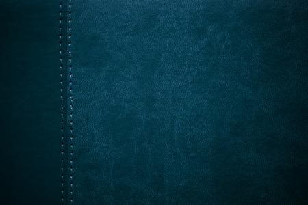 margen: azul textura de cuero con costuras en el margen