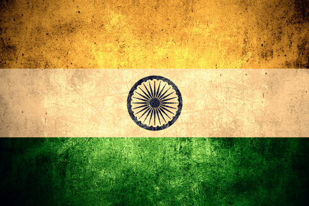 india flag: flag of India or AIndian banner on rough pattern texture vintage background Stock Photo