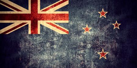bandera de nueva zelanda: flag of New Zealand or  banner on rough pattern texture vintage background