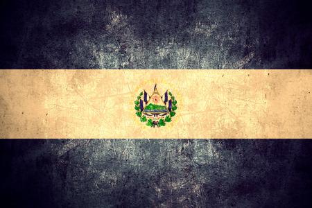 el salvadoran: flag of El Salvador or Salvadoran banner on rough pattern texture vintage background