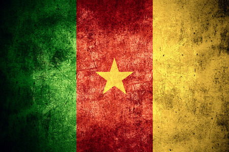 cameroonian: flag of Cameroon or Cameroonian banner on rough pattern texture vintage background Stock Photo