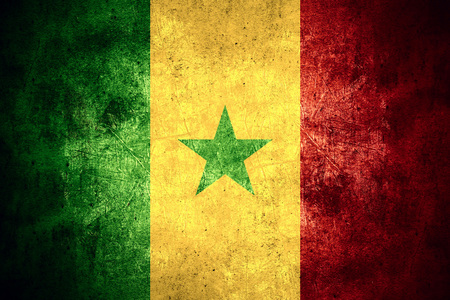 senegalese: flag of Senegal or Senegalese banner on rough pattern texture vintage background Stock Photo