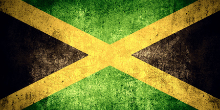 jamaican flag: flag of Jamaica or Jamaican banner on rough pattern texture vintage background