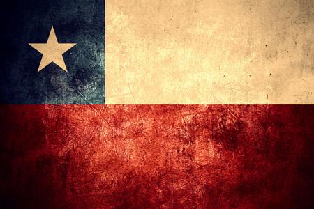 bandera chilena: bandera de Chile o la bandera chilena en el fondo de la vendimia patrón de textura áspera Foto de archivo