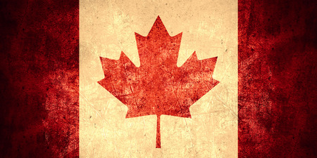 canadian state flag: flag of Canada or Canadian banner on rough pattern texture vintage background