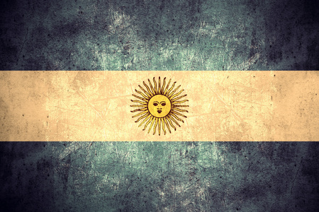 argentinian flag: flag of Argentina or Argentinian banner on rough pattern texture vintage background