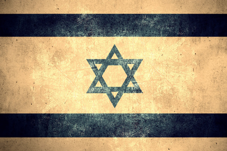 israeli: flag of Israel or Israeli banner on rough pattern texture vintage background
