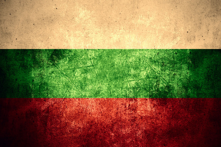 bulgarian: flag of Bulgaria or Bulgarian banner on rough pattern texture vintage background