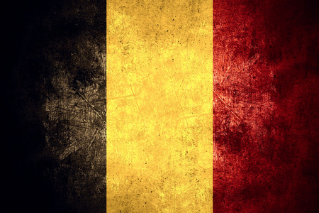 flag of Belgium or Belgian banner on rough pattern texture vintage background