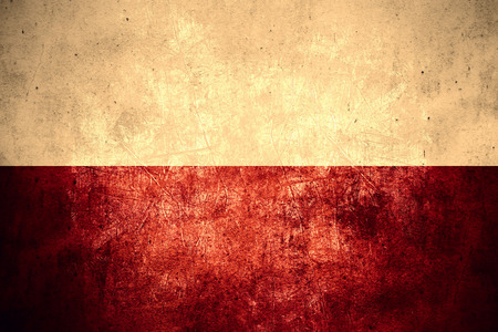 flag of Poland or Polish banner on rough pattern texture vintage background