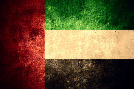 united arab emirates: flag of United Arab Emirates or United Arabian Emirates banner on rough pattern texture vintage background