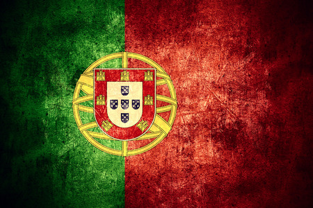 rough background: flag of Portugal or Portuguese banner on rough pattern texture vintage background