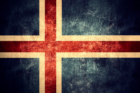 icelandic flag: flag of Iceland or Icelandic banner on rough pattern texture vintage background