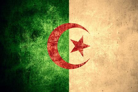 algerian flag: flag of Algeria or Algerian banner on rough pattern texture vintage background