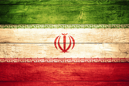 iran: flag of Iran or  Iranian banner on wooden background