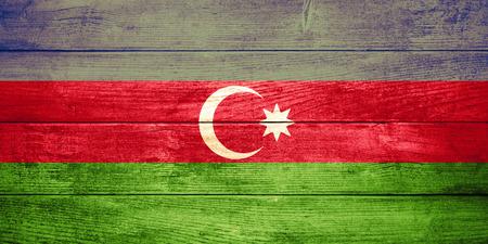 azerbaijani: flag of  Azerbaijan or  Azerbaijani banner on wooden background