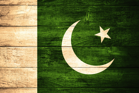 pakistani pakistan: flag of  Pakistan or  Pakistani banner on wooden background