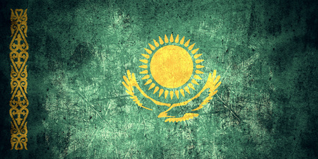 kazakh: flag of Kazakhstan or Kazakh banner on rough pattern texture vintage background Stock Photo