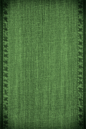 seams: green jeans background or vanvas texture with seams Stock Photo