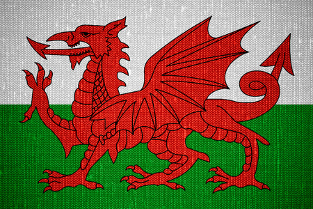 welsh flag: flag of Wales or Welsh banner on canvas background