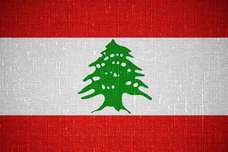lebanese: flag of Lebanon or Lebanese banner on canvas background Stock Photo