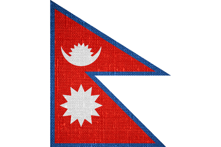 nepali: flag of Nepal or Nepali banner on canvas background