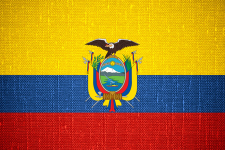 ecuadorian: flag of Ecuador or Ecuadorian banner on canvas background Stock Photo