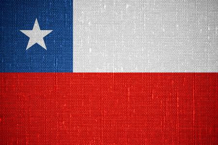 bandera chilena: bandera de Chile o la bandera chilena en el fondo de la lona Foto de archivo