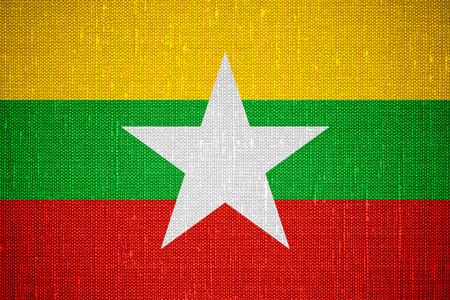 burmese: flag of Burma or Burmese banner on canvas background, Myanmar