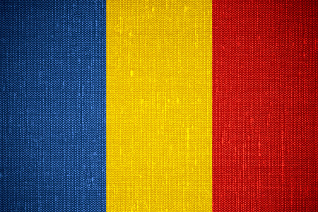 romanian: flag of Romania or Romanian banner on canvas background Stock Photo