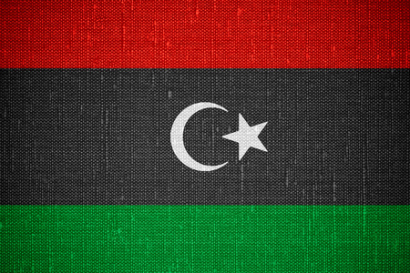 libyan: flag of Libya or Libyan banner on canvas background