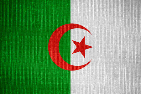 algerian flag: flag of Algeria or Algerian banner on canvas background