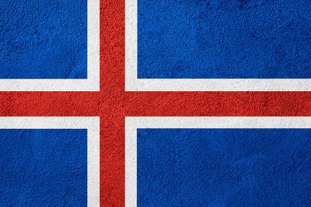 icelandic: flag of Iceland or Icelandic banner on stone background Stock Photo