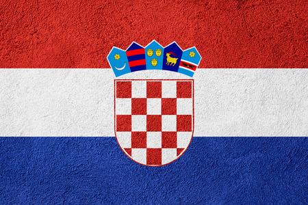 croatian: flag of Croatia or Croatian banner on stone background Stock Photo