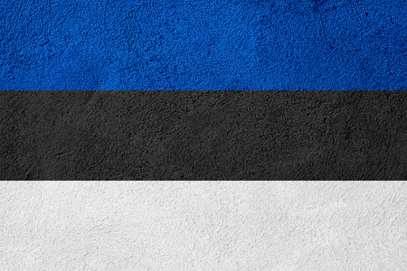 estonian: flag of Estonia or Estonian banner on stone background Stock Photo