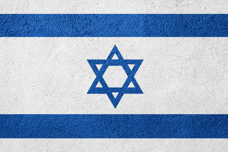 flag of Israel or Israeli banner on stone background