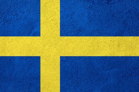 flag of Sweden or Swedish banner on stone background