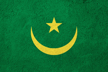 mauritania: flag of Mauritania or Mauritanian banner on rough pattern background