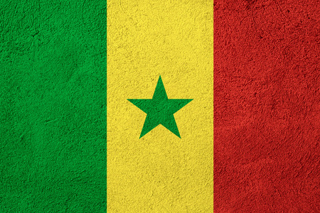 senegal: flag of Senegal or Senegalese banner on rough pattern background Stock Photo