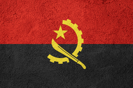 angola: flag of Angola or banner on rough pattern background