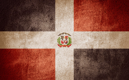 dominican republic: flag of Dominican Republic or banner on rough pattern background Stock Photo