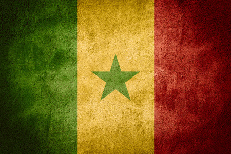 senegalese: flag of Senegal or Senegalese banner on rough pattern background Stock Photo