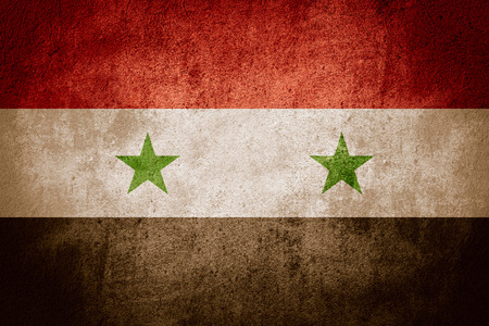 syrian: flag of Syria or Syrian banner on rough pattern background Stock Photo