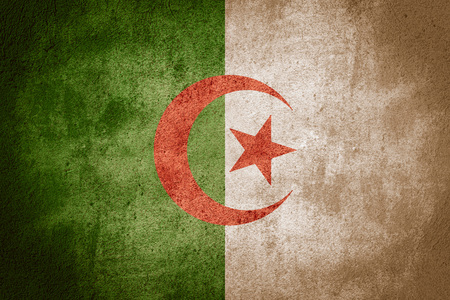 algerian flag: flag of Algeria or Algerian banner on rough pattern background