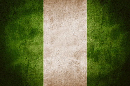 nigerian: flag of Nigeria or Nigerian banner on rough pattern background Stock Photo