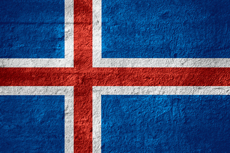 icelandic flag: flag of Iceland or Icelandic banner on rough texture